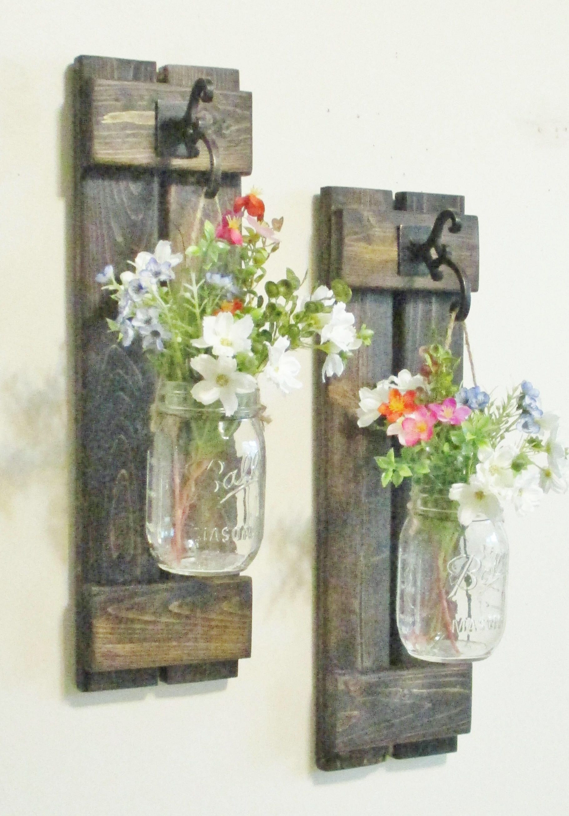 flower vase sconces of new design rustic primitive farmhouse wood wall decor 2 hanging regarding new design rustic primitive farmhouse wood wall decor 2 hanging mason jar sconces wall sconce by cottagehomedecor on etsy htt