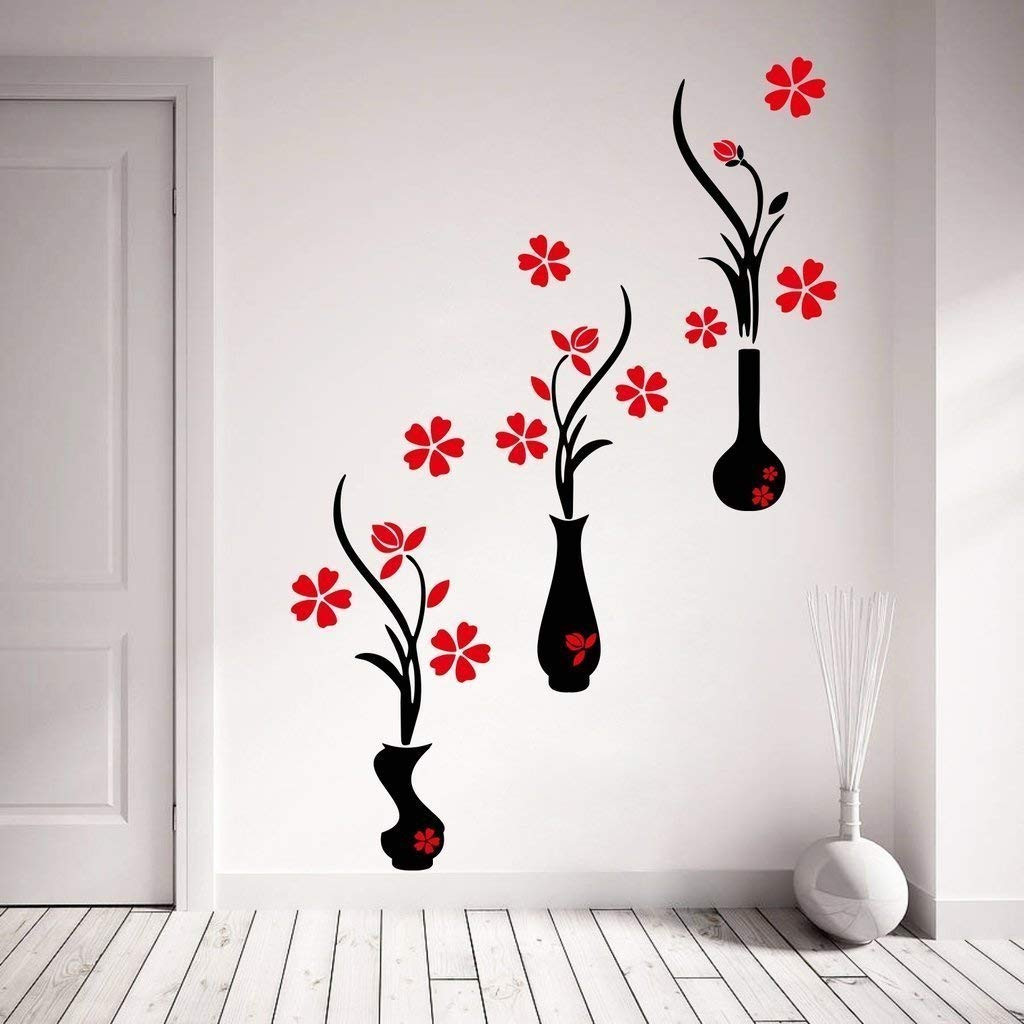 flower vase wall stickers of buy decor kafe red and black flower pots wall sticker pvc vinyl inside buy decor kafe red and black flower pots wall sticker pvc vinyl film 107 01 cm x 124 99 cm x 0 99 cm online at low prices in india amazon in