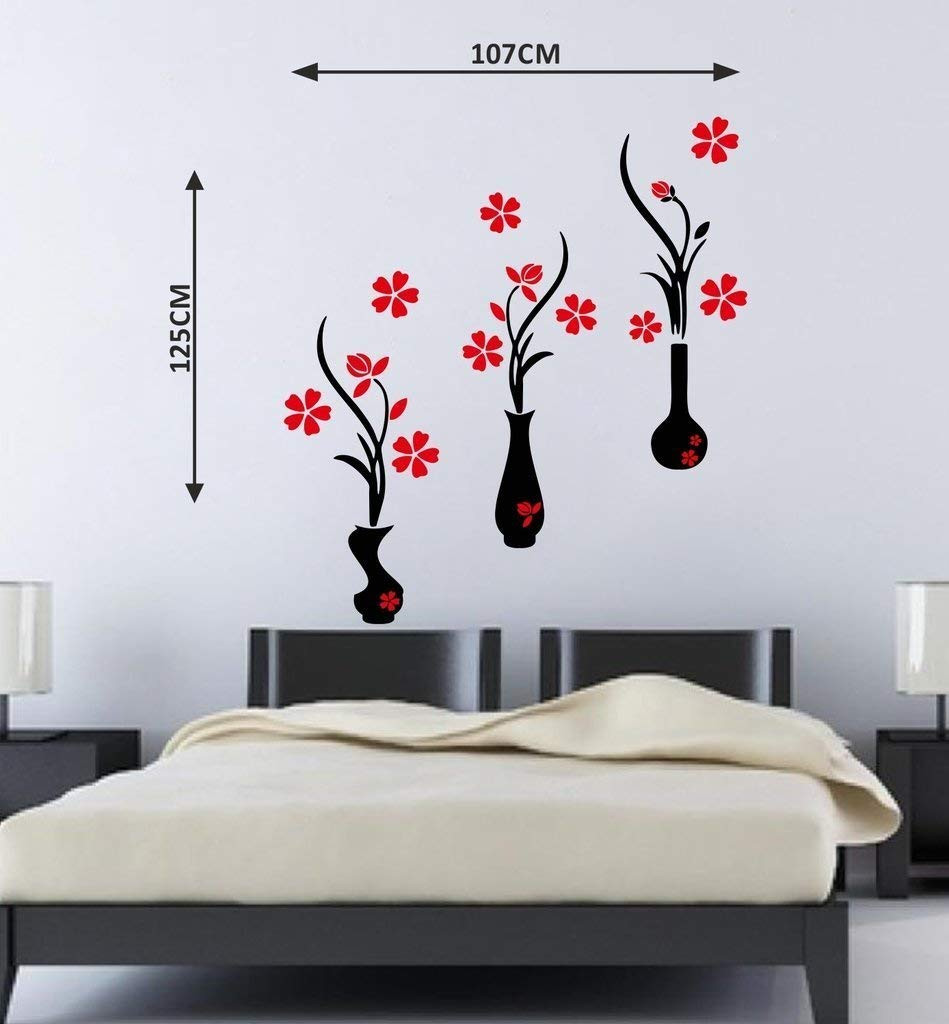 flower vase wall stickers of buy decor kafe red and black flower pots wall sticker pvc vinyl regarding buy decor kafe red and black flower pots wall sticker pvc vinyl film 107 01 cm x 124 99 cm x 0 99 cm online at low prices in india amazon in