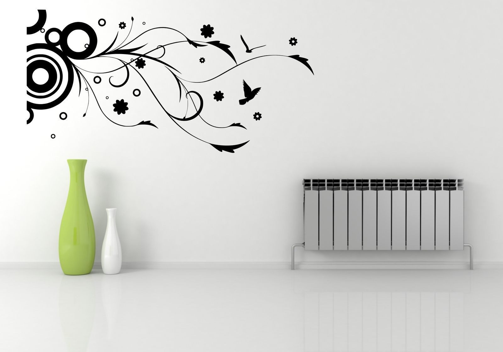 flower vase wall stickers of circle birds flower floral wall art wall sticker decal mural stencil with circle birds flower floral wall art wall sticker decal mural stencil vinyl print