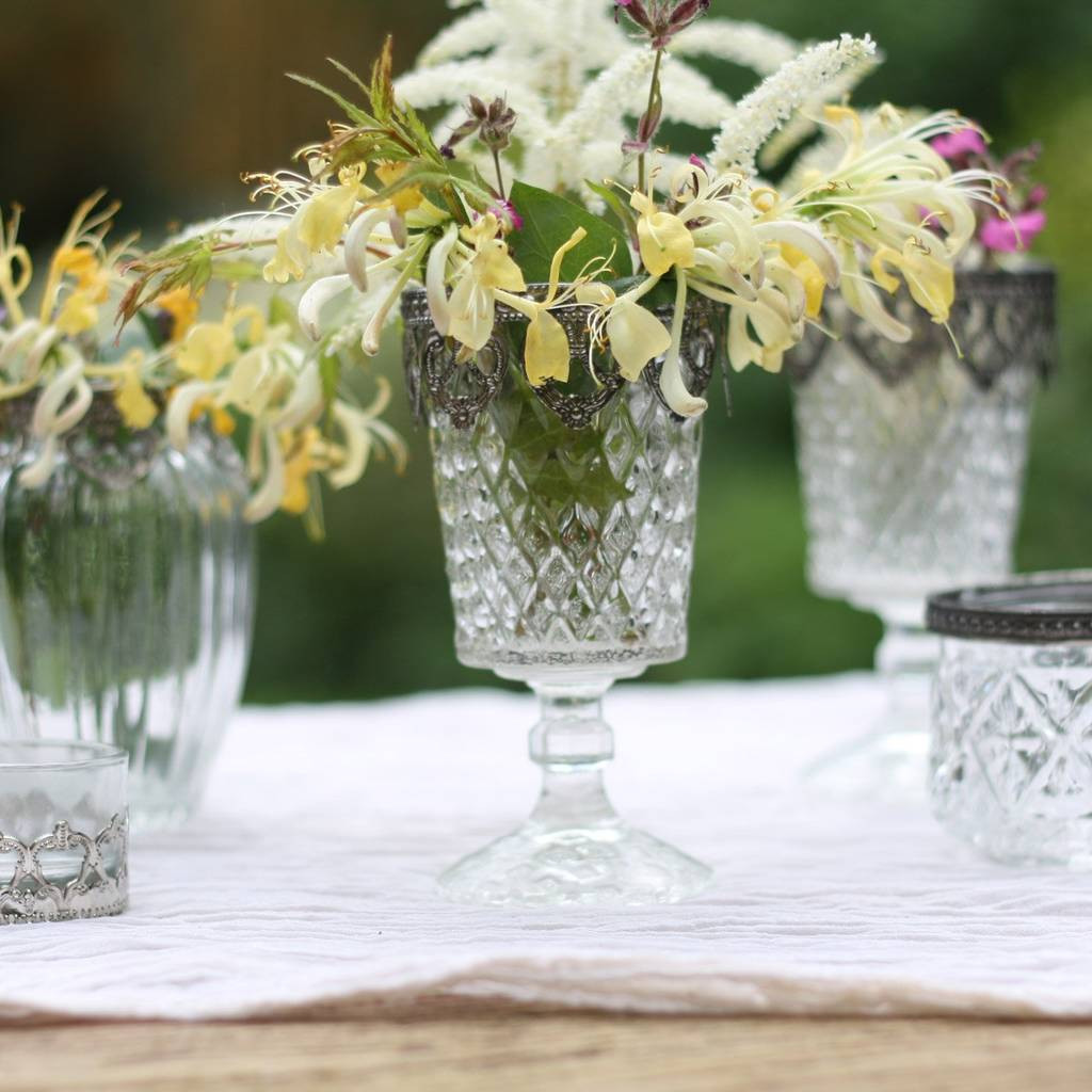 Flower Vase with Candle Holder Of Pressed Glass Footed Vase Candle Holder Metal Rim by the Wedding Of with Regard to Pressed Glass Footed Vase Candle Holder Metal Rim