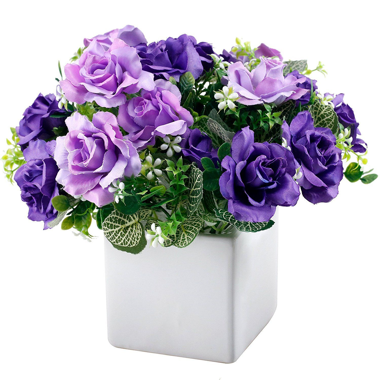 flower vases with artificial flowers of artificial purple rose flower arrangement in 4 inch square white regarding artificial purple rose flower arrangement in 4 inch square white ceramic vase learn