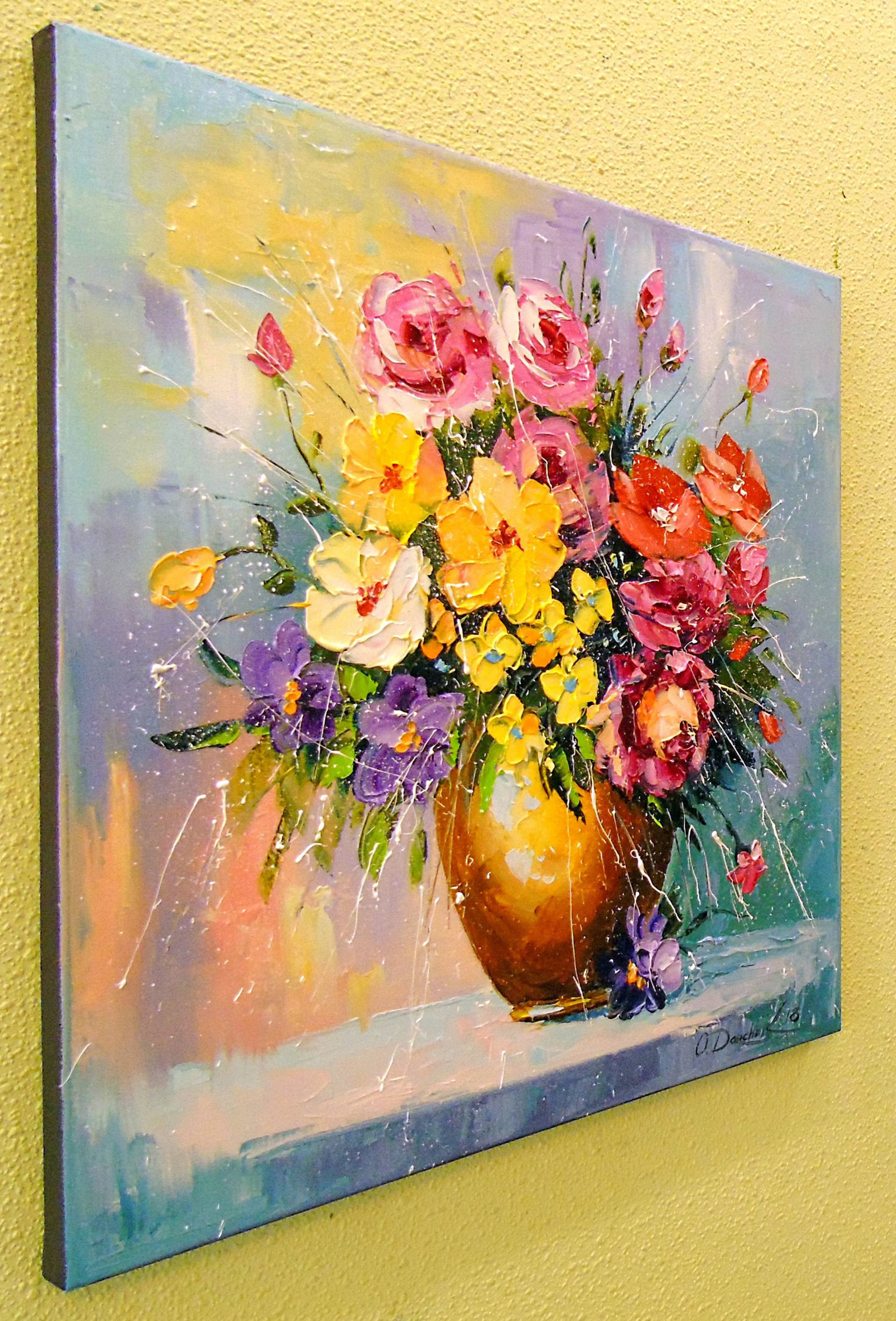 flowers in vase acrylic paintings of bouquet of summer flowers in a vase painting by olha darchuk inside view fullscreen