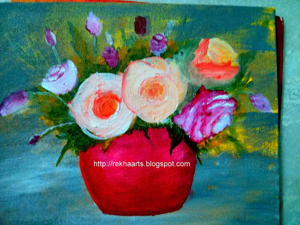 flowers in vase acrylic paintings of varnaalaya 2013 regarding flower vase painting acrylic on canvas