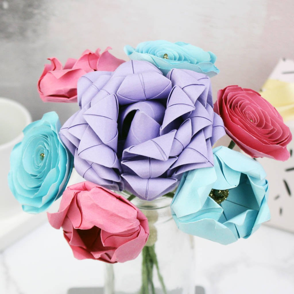 flowers with vase delivery uk of pastel paper flowers bouquet by the origami boutique for pastel paper flowers bouquet