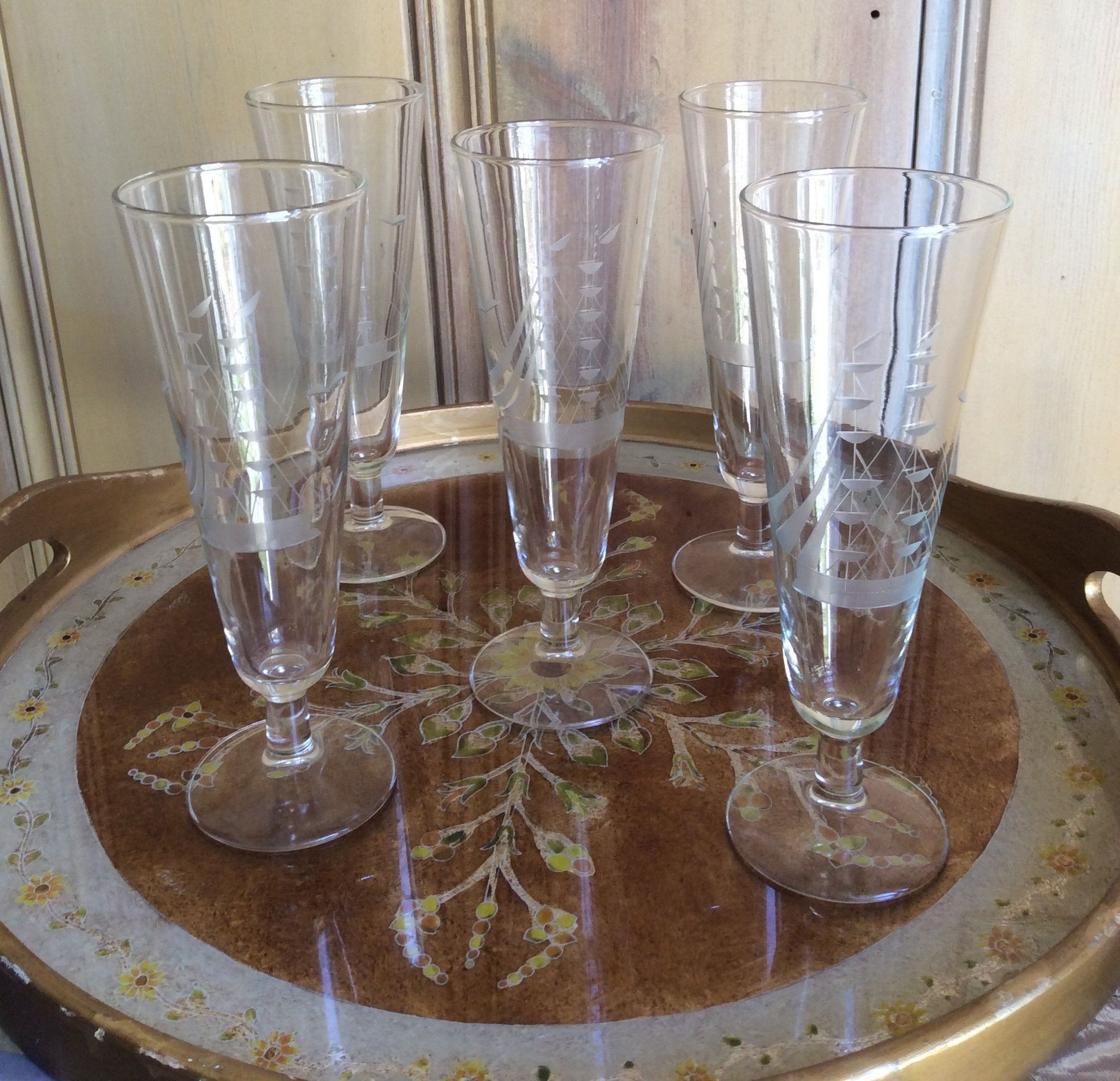 Footed Crystal Vase Of Set Of Five Etched Ship Glass Tall Beer Glass Footed Glassware with Regard to Glass