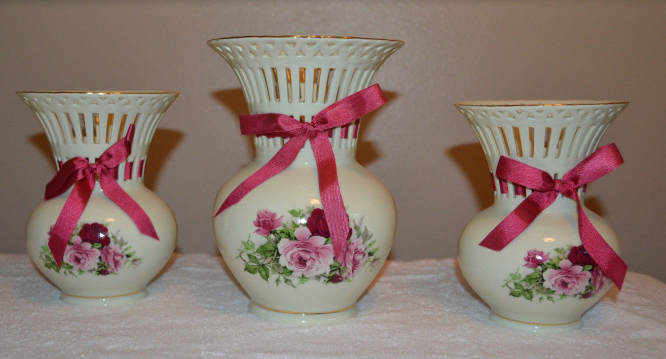 Formalities by Baum Bros Rose Vase Of Set Of 3 Vintage formalities by Baum Bros Lattice Vases with Rose for Set Of 3 Vintage formalities by Baum Bros Lattice Vases with Rose Motif 1 Of 12only 1 Available See More