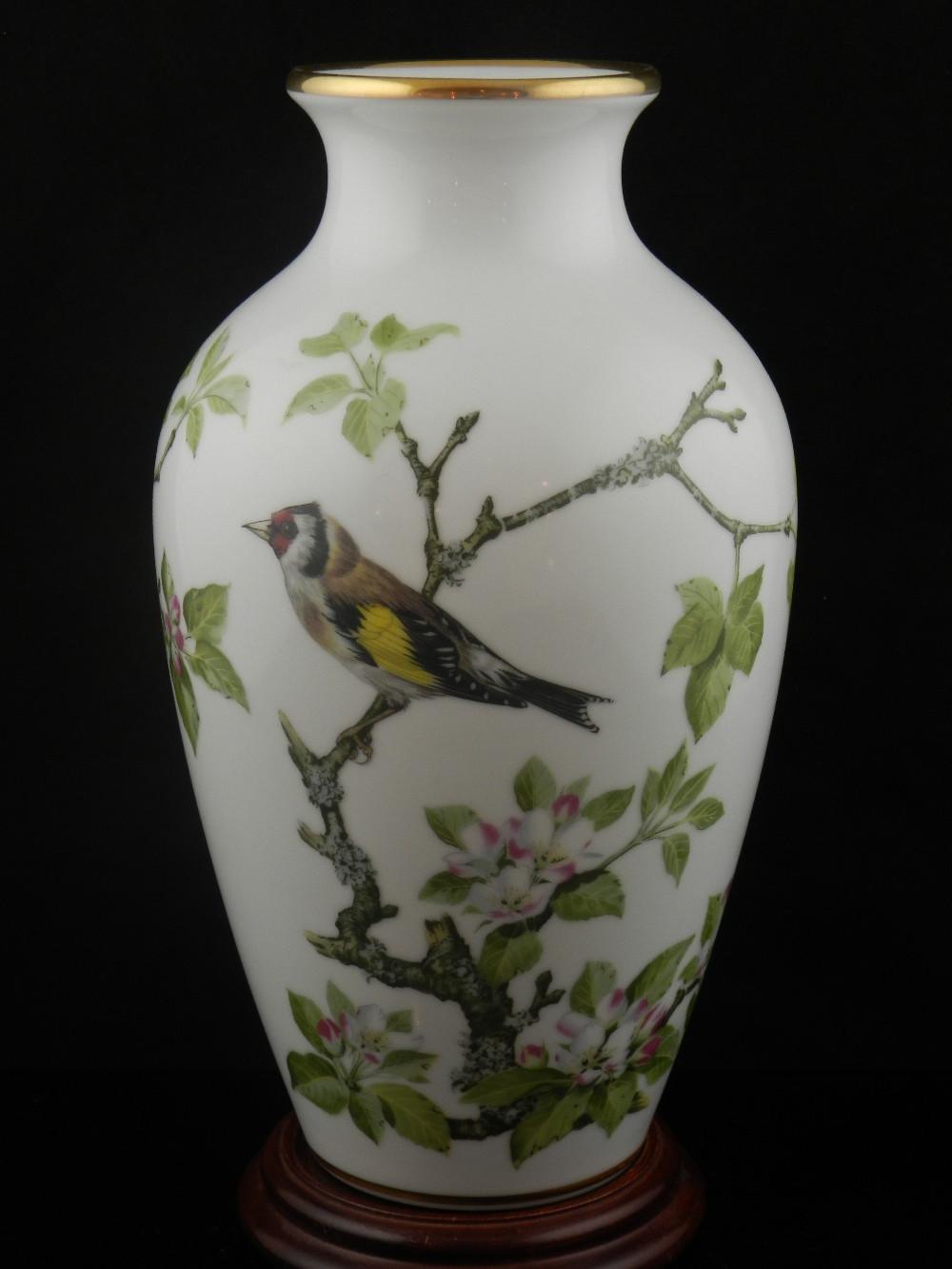 franklin porcelain woodland bird vase of a franklin porcelain the woodland bird vase raised on a pertaining to lot 294 a franklin porcelain