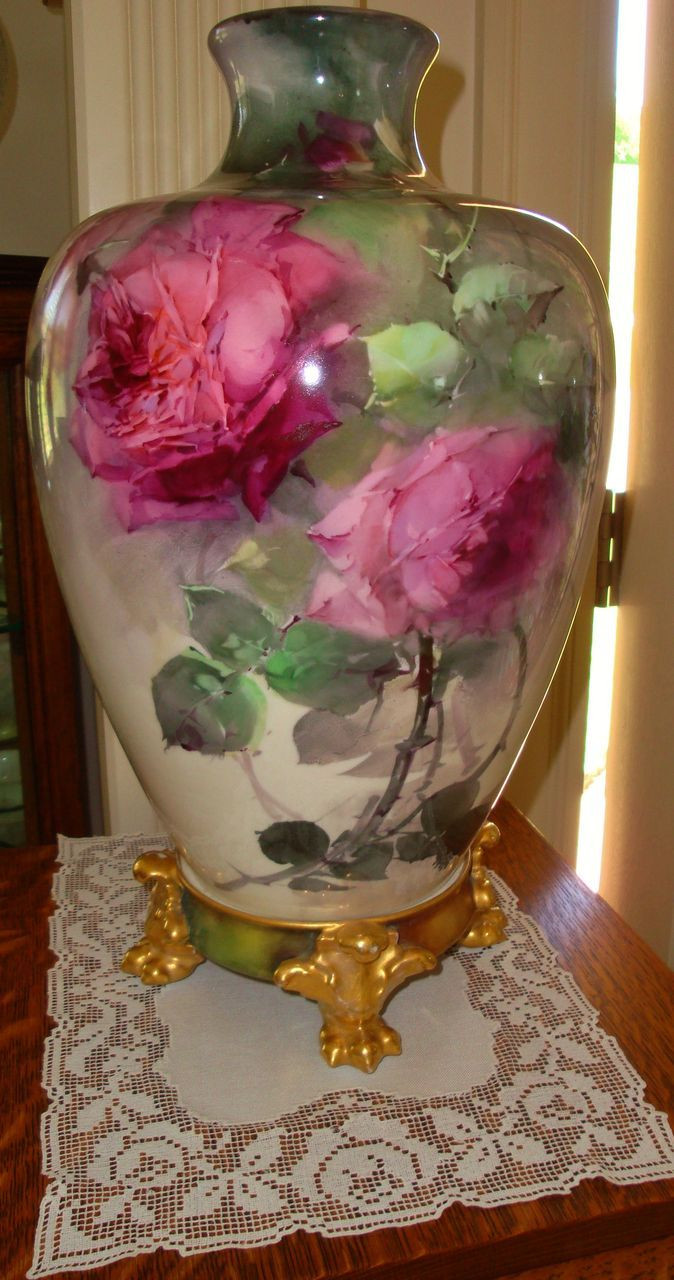 franz porcelain hummingbird vase of 45 best vazo images on pinterest flower vases china painting and pertaining to antique belleek huge vase hand painted roses biscoff or aulich style from theverybest on ruby lane