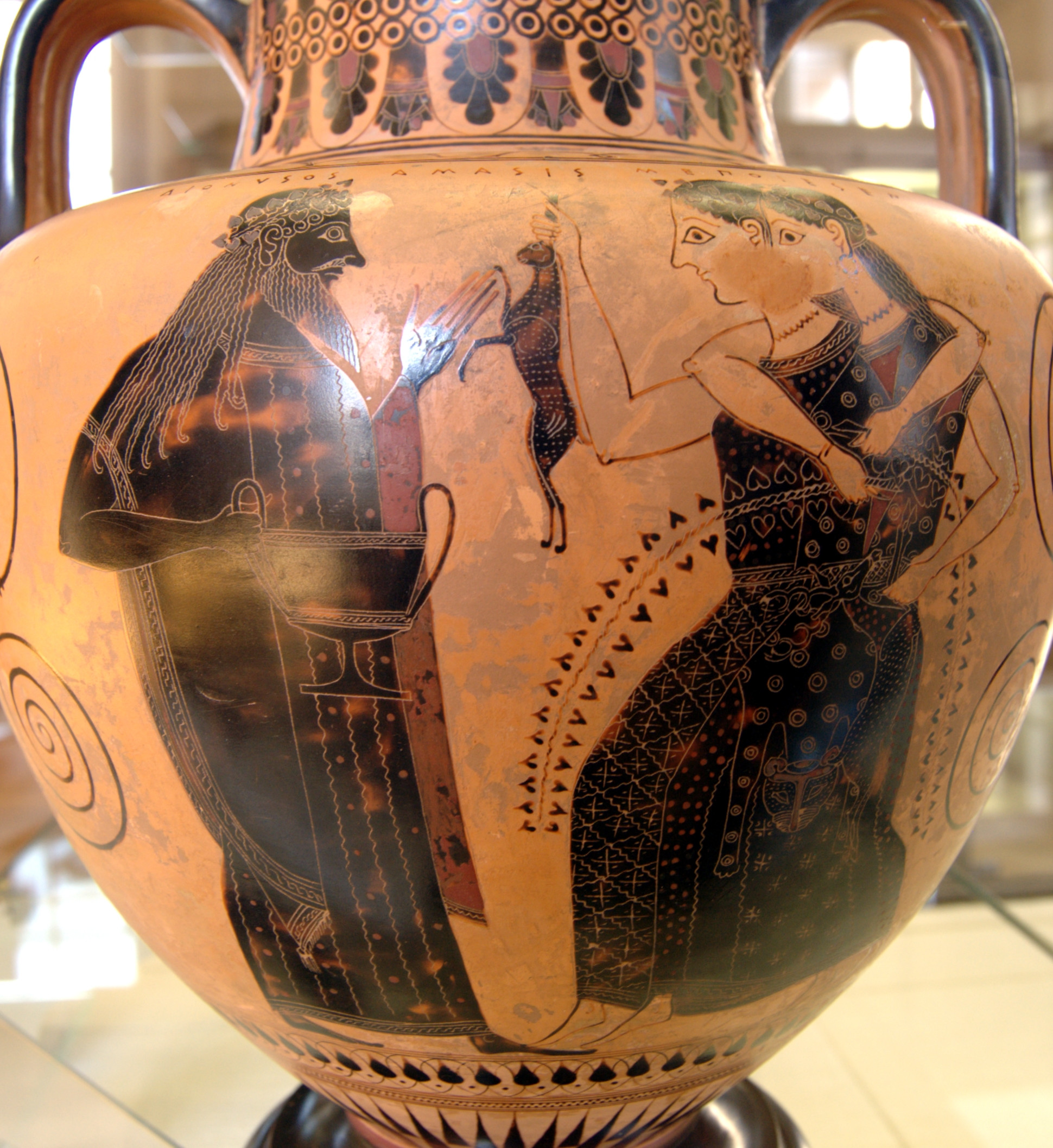 french vases for sale of black figure pottery wikipedia with regard to dionysus and two maenads one holding a hare neck amphora ca 550 530 bc from vulci now cabinet des madailles de la bibliotha¨que nationale de france