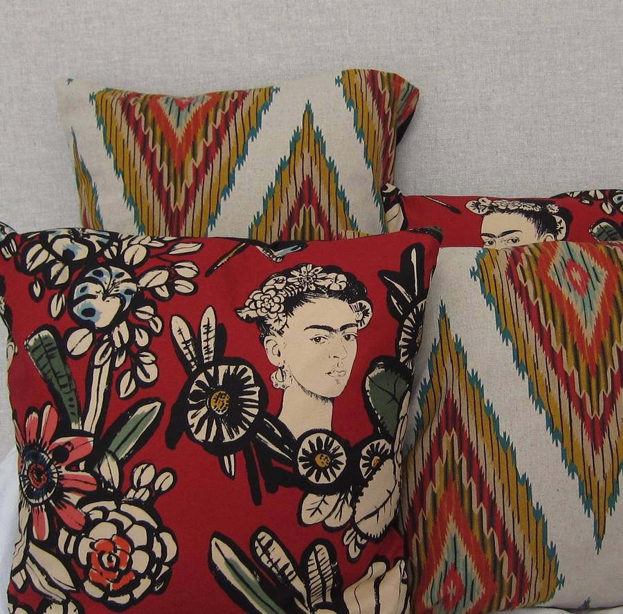 Frida Kahlo Flower Vase Of Frida Kahlo Mexican Flowers Cushion by Twentysevenpalms Intended for Frida Kahlo Mexican Flowers Cushion A· Flowers Cushion Coordinated with Aztec Cushion