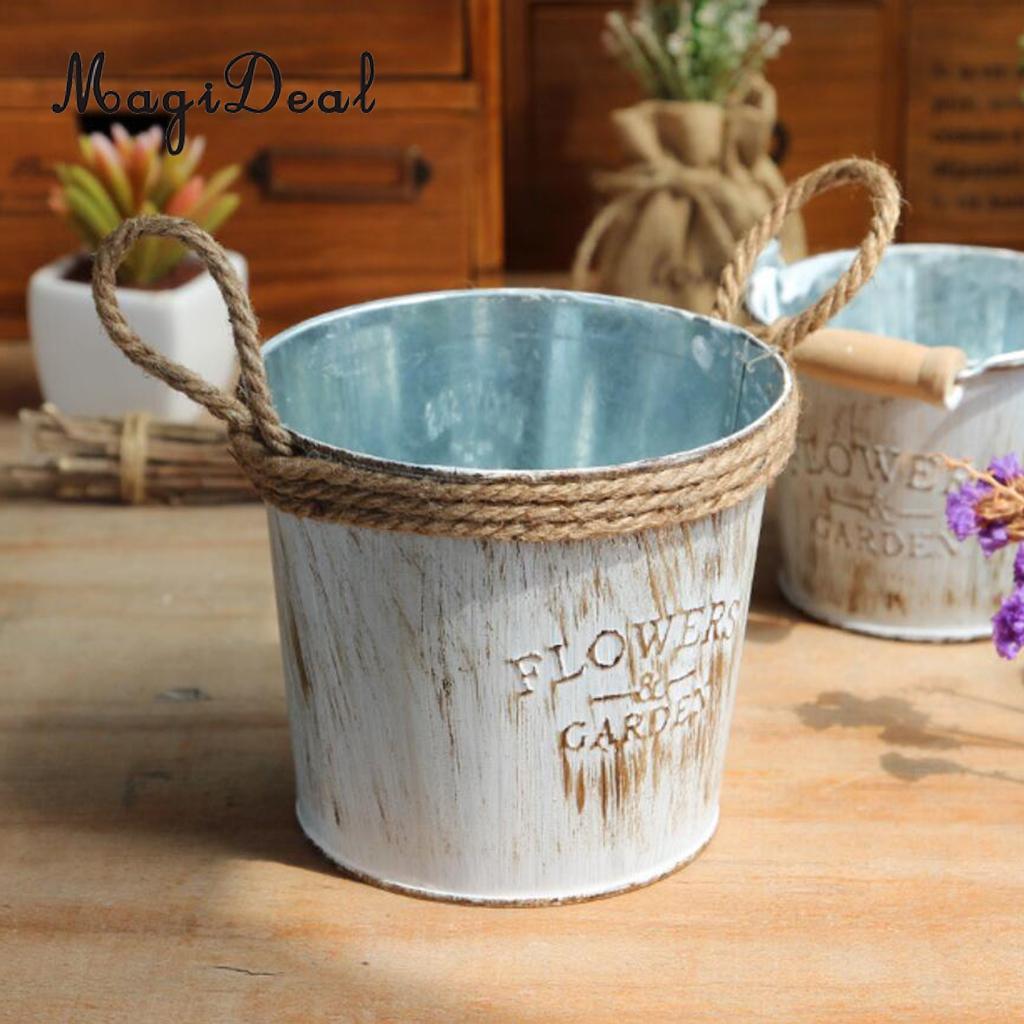 Galvanised Flower Vase Of 3 Pieces Shabby Chic Galvanised Iron Flower Plants Pot Bucket Flower Regarding 3 Pieces Shabby Chic Galvanised Iron Flower Plants Pot Bucket Flower Vase