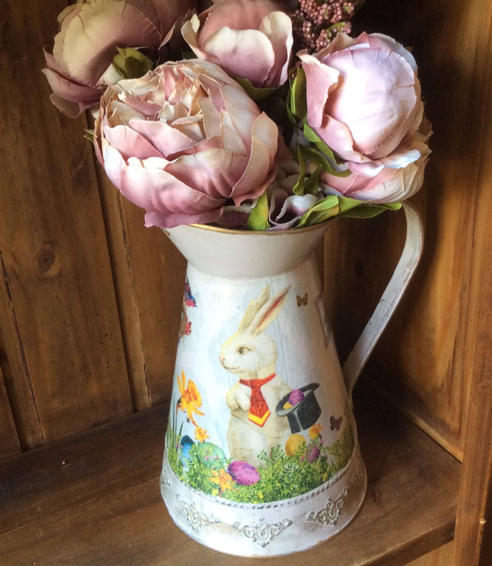 Galvanised Flower Vase Of Galvanized Metal Pitcher Jug Hand Painted with White Rabbit within Galvanized Metal Pitcher Jug Hand Painted with White Rabbit Decoupage Decorative Vase Home Decor Perfect Gift
