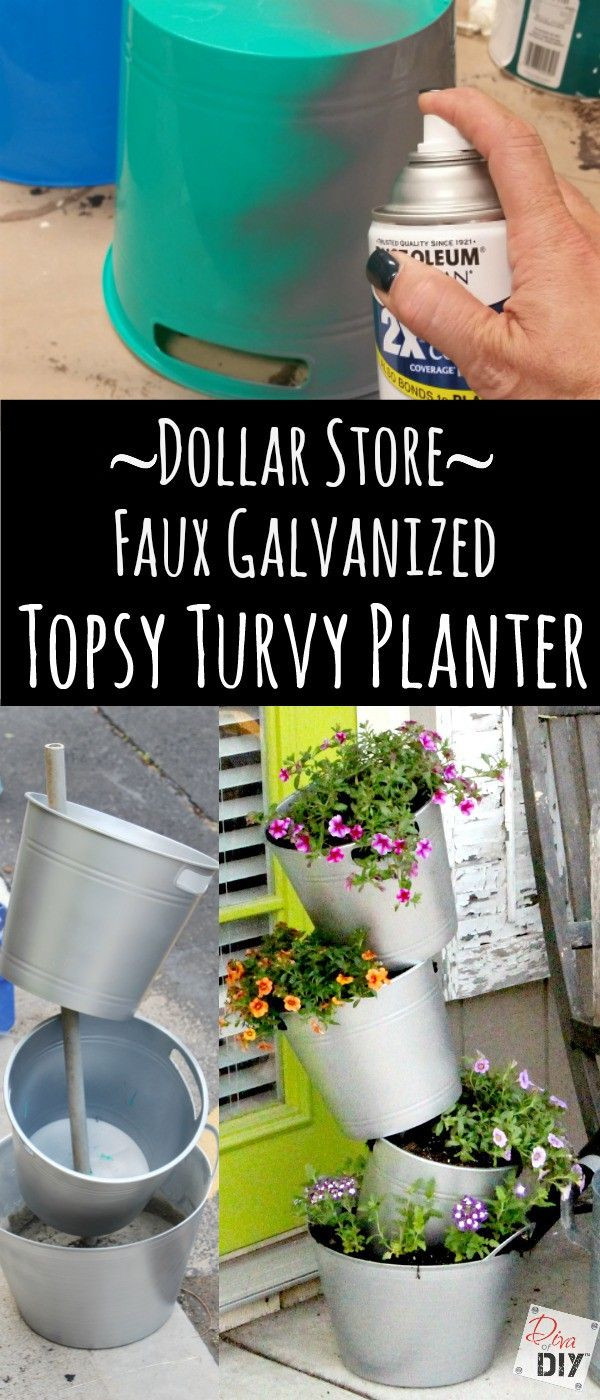 galvanised flower vase of how to make an easy faux galvanized flower pot on the cheap for within how do you make this topsy turvy flower pot for a fraction of the cost check out this faux galvanized bucket flower pot made with dollar store supplies