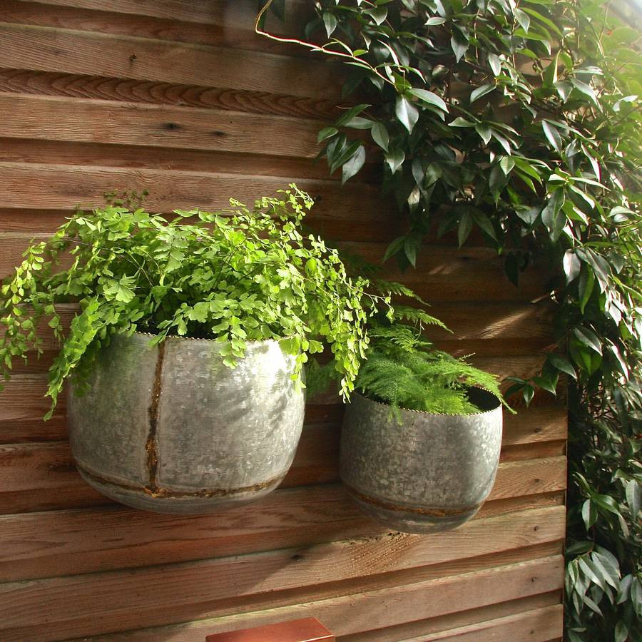 Galvanised Flower Vase Of Set Of Two Zinc Bowl Wall Planters by London Garden Trading Regarding Set Of Two Zinc Bowl Wall Planters