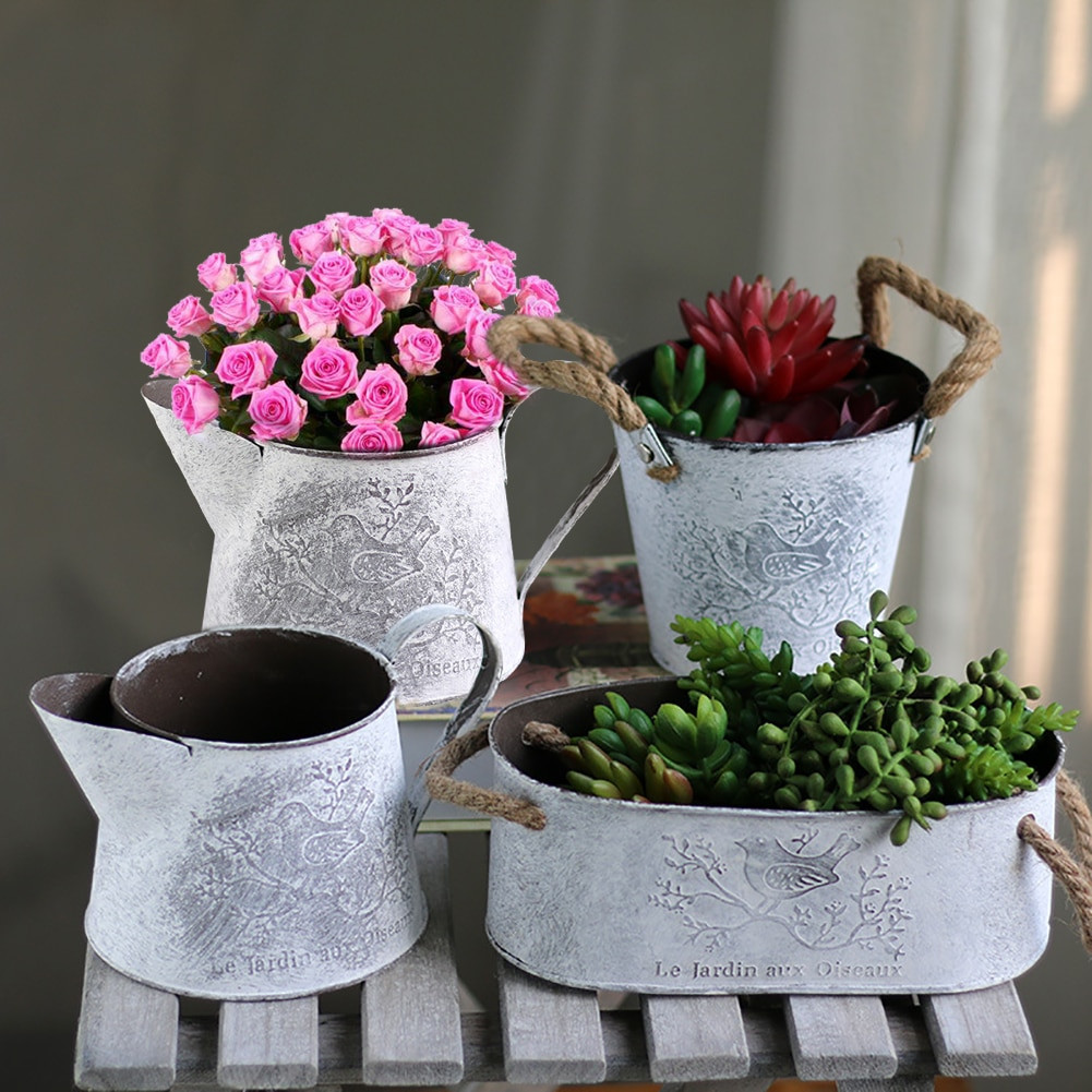galvanised flower vase of vintage flower pot metal iron garden vase bonsai pot vertical garden pertaining to 1 x flower vase