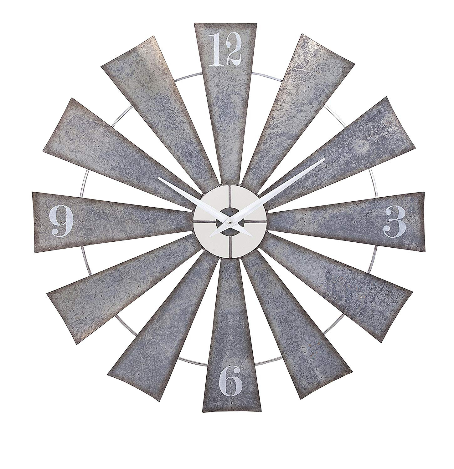 galvanized tin wall vase of amazon com imax 47608 ward metal windmill wall clock round wall within amazon com imax 47608 ward metal windmill wall clock round wall clock in grey arabic numerals vintage inspired oversized analogue clock