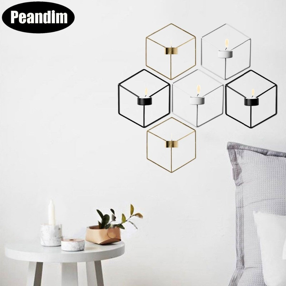 geometric wire vase of aliexpress com buy peandim nordic style wall candle holder in aliexpress com buy peandim nordic style wall candle holder minimalist 3d geometric candlestick ornaments sconce small tealight home decoration from