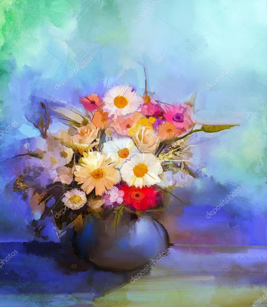 gerbera daisy in vase of oil painting flowers in vase hand paint still life bouquet of white with oil painting flowers in vase hand paint still life bouquet of whiteyellow and orange sunflow