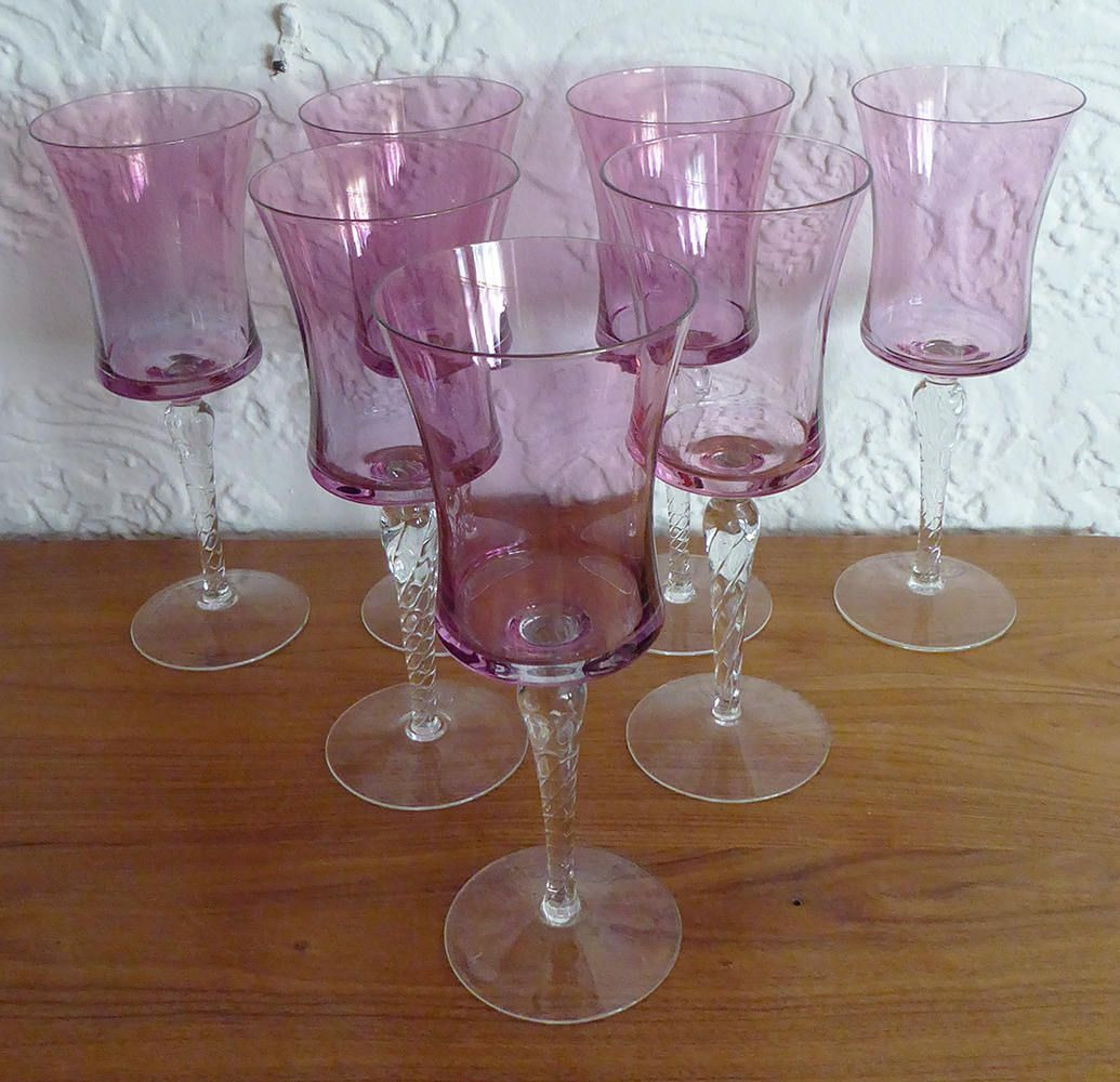 giant glass brandy snifter vase of set of 7 large iridescent rose pink cranberry crystal glass crystal regarding set of 7 large iridescent rose pink cranberry crystal glass crystal twisted icicle stem large wine