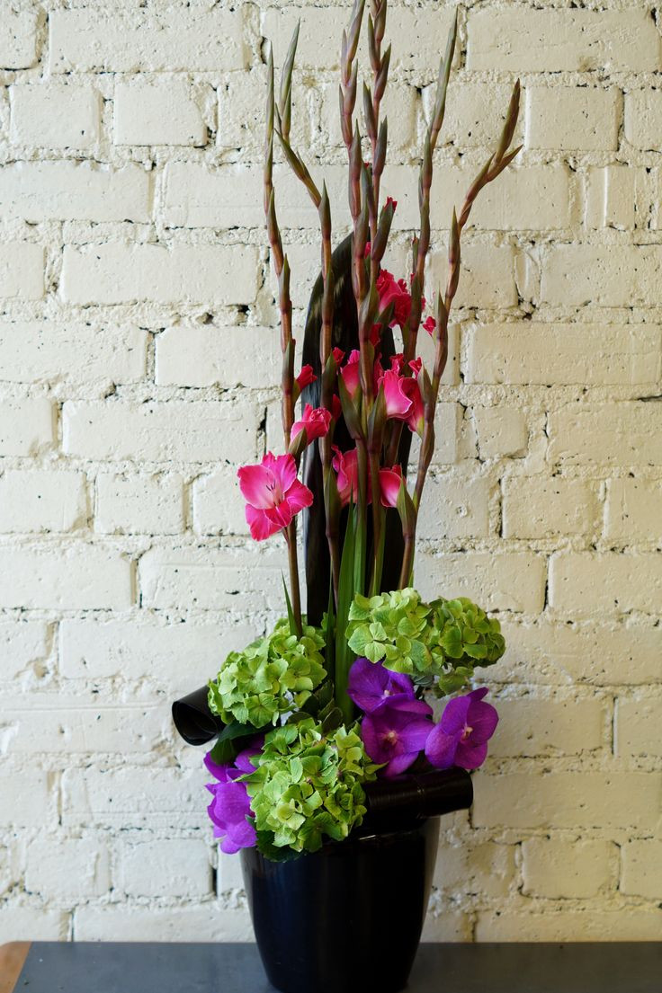 Gladiolus Vase Of Flower Bouquet Quotes Floral Arrangement Inspiration with Regard to A Bright and Colourful Arrangement for One Of Our Corporate Clients Including Green Hydrangea Purple Vanda