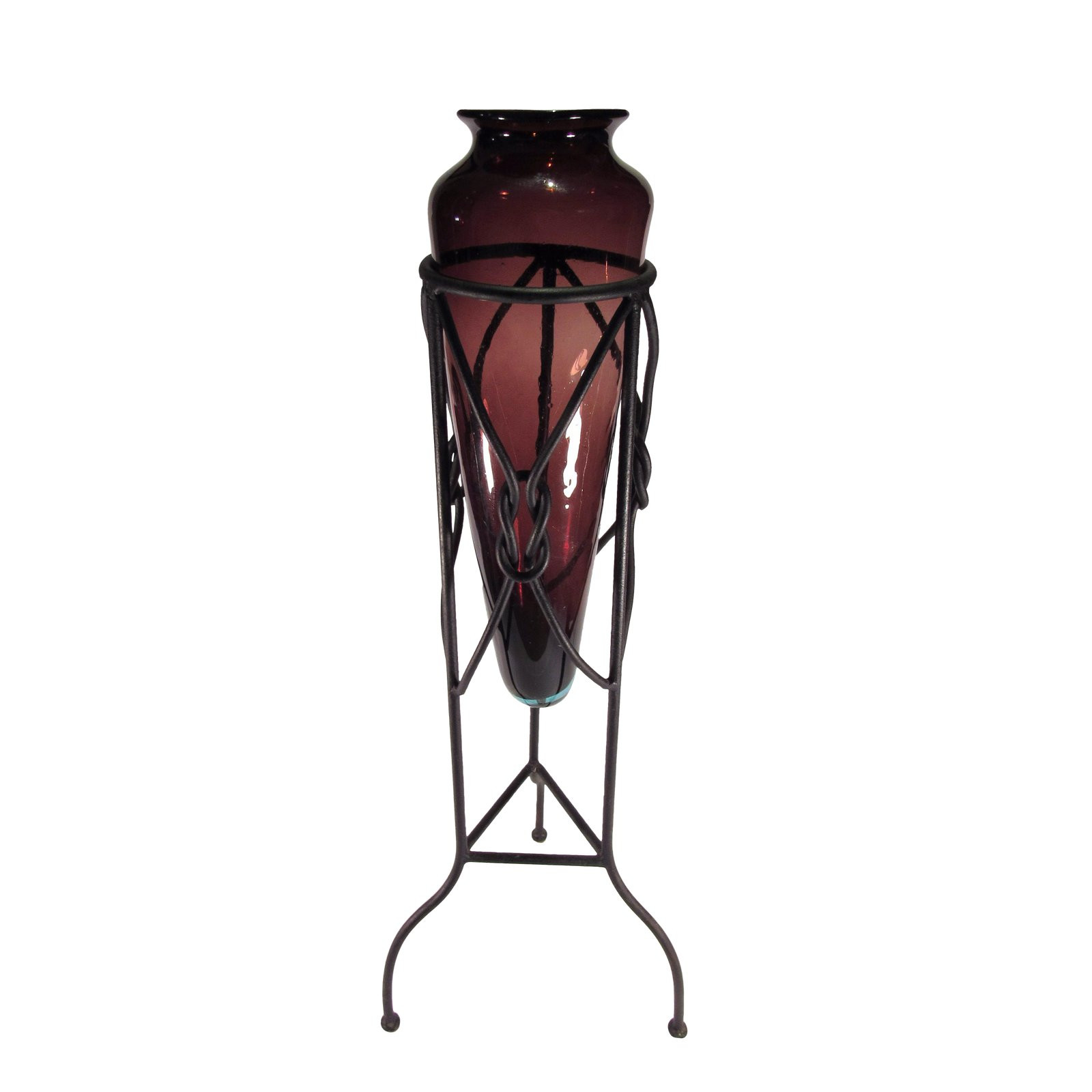 glass cylinder vases with flared rims 9 in of large amphora style glass vase in iron tripod stand chairish with large amphora style glass vase in iron tripod stand 8677