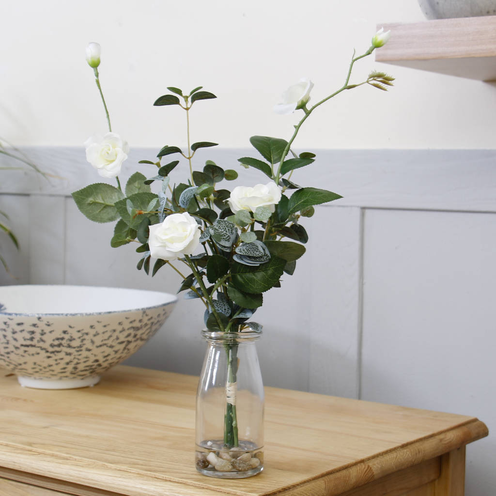 Glass Display Vase Of Summer Days White Rose Dried Flower Display Vase by Dibor Intended for Summer Days White Rose Dried Flower Display Vase