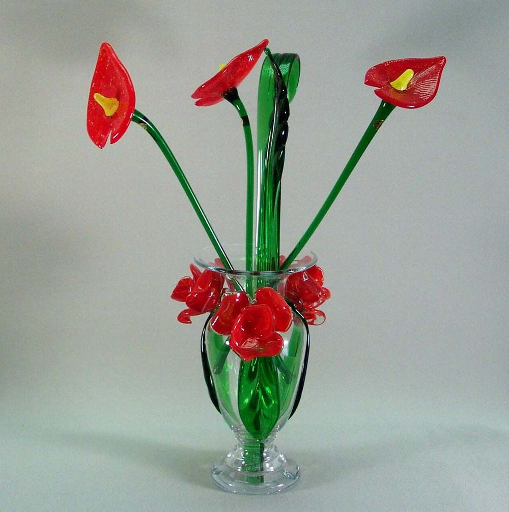 Glass Flowers In Vase Of Glass Flowers with Stems Art Glass Collections From Throughout Art Glass Collections From Muranoartglass Us Art Glass Flowers 9001
