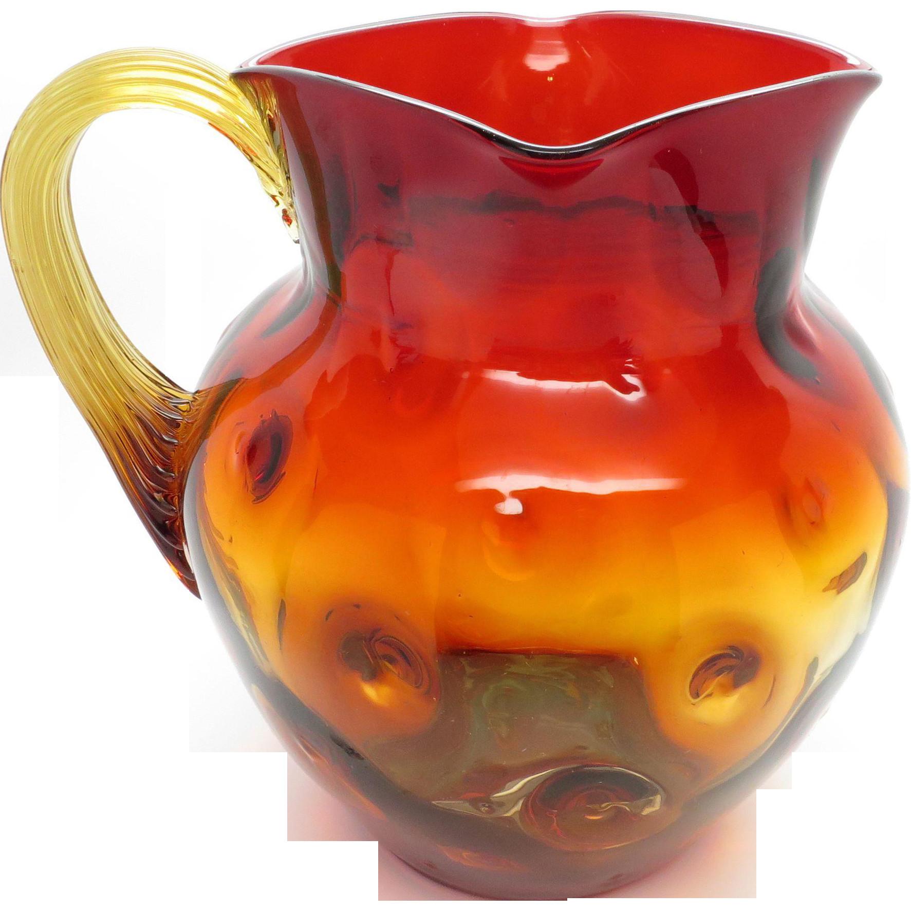 glass pitcher vase of beautiful antique new england thumbprint amberina art glass pitcher regarding beautiful antique new england thumbprint amberina art glass pitcher with square mouth applied reeded handle www rubylane com rubylanecom