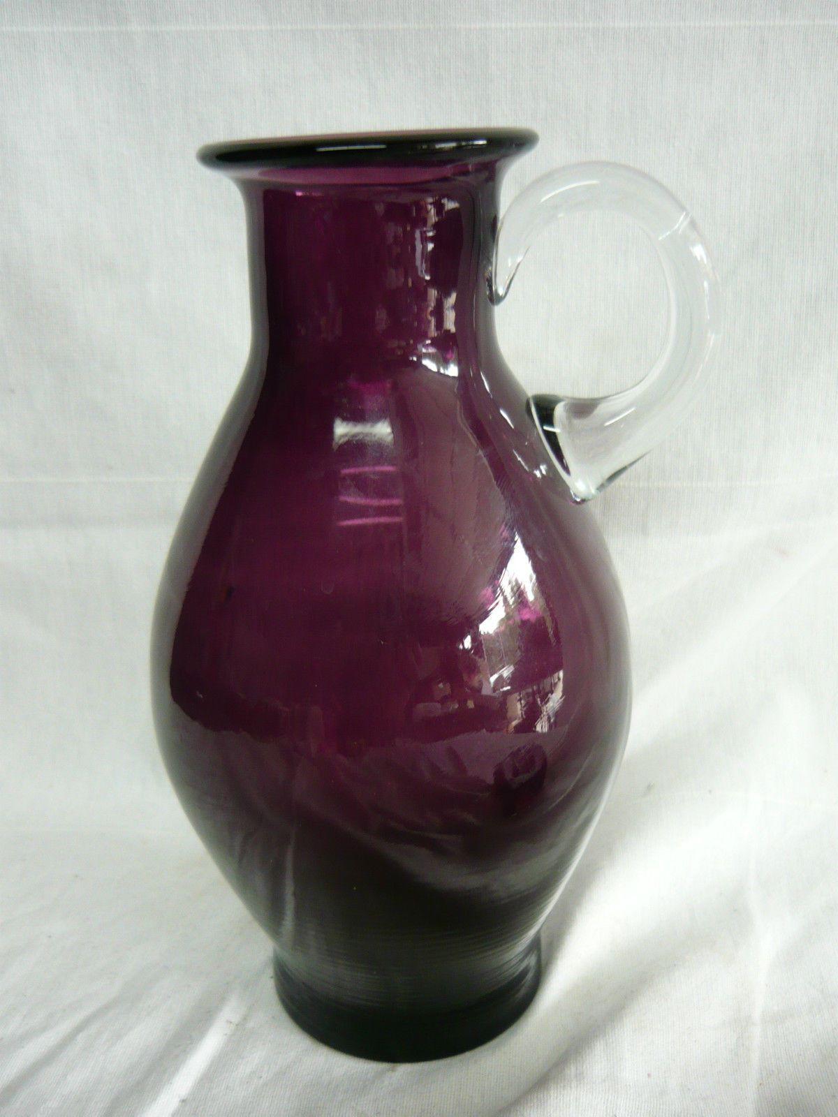 glass pitcher vase of vintage amethyst glass pitcher mid century danish modern hadeland intended for vintage amethyst glass pitcher mid century danish modern hadeland norway purple