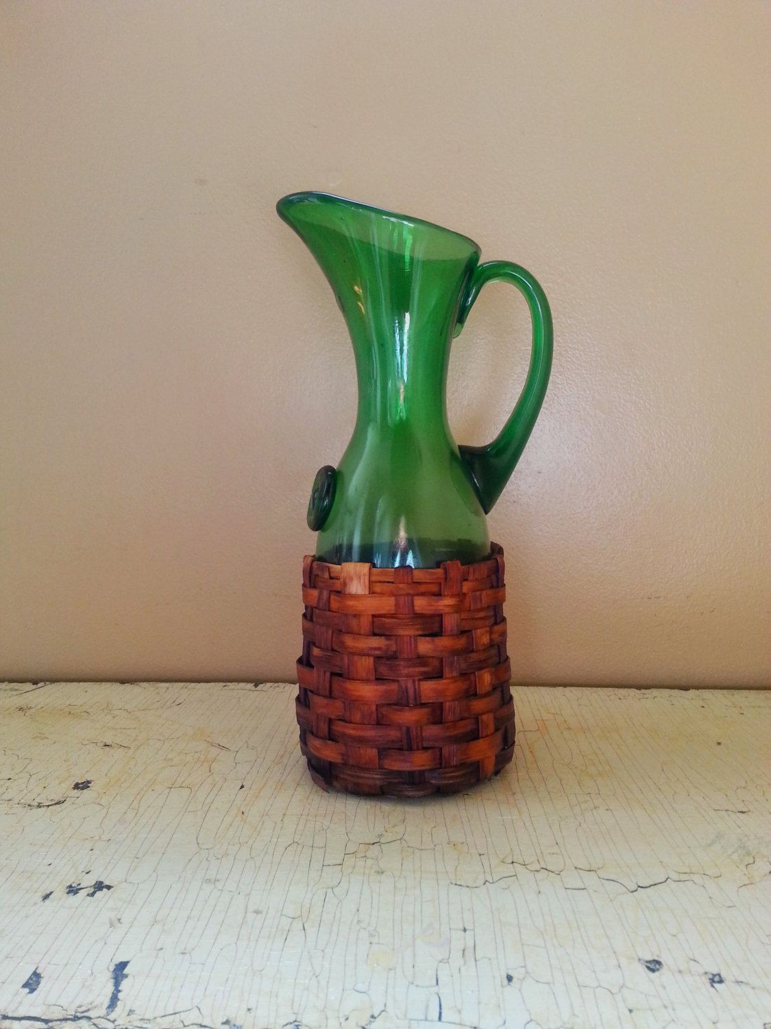 glass pitcher vase of vintage basket wrapped hand blown green glass pitcher wine pitcher pertaining to vintage basket wrapped hand blown green glass pitcher wine pitcher italian glass