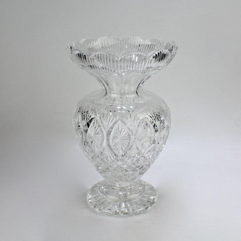 Glass Seashell Vase Of Large 12 Waterford Cut Crystal Master Cutter Vase Glass Gl In Large 12 Waterford Cut Crystal Master Cutter Vase Glass Gl