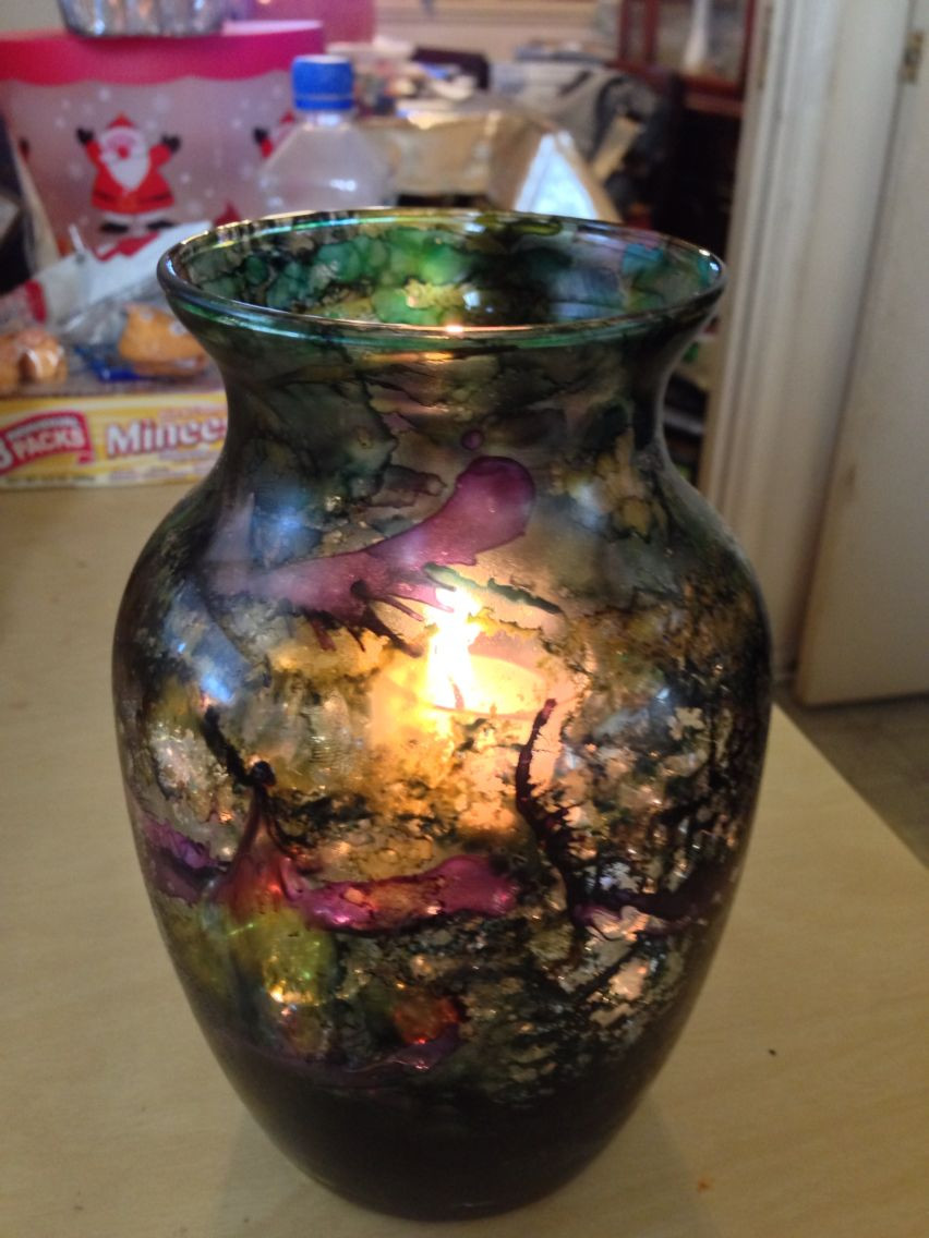 glass vase fillers ideas of alcohol inks on glass vase with vase filler glass rocks and candle within alcohol inks on glass vase with vase filler glass rocks and candle