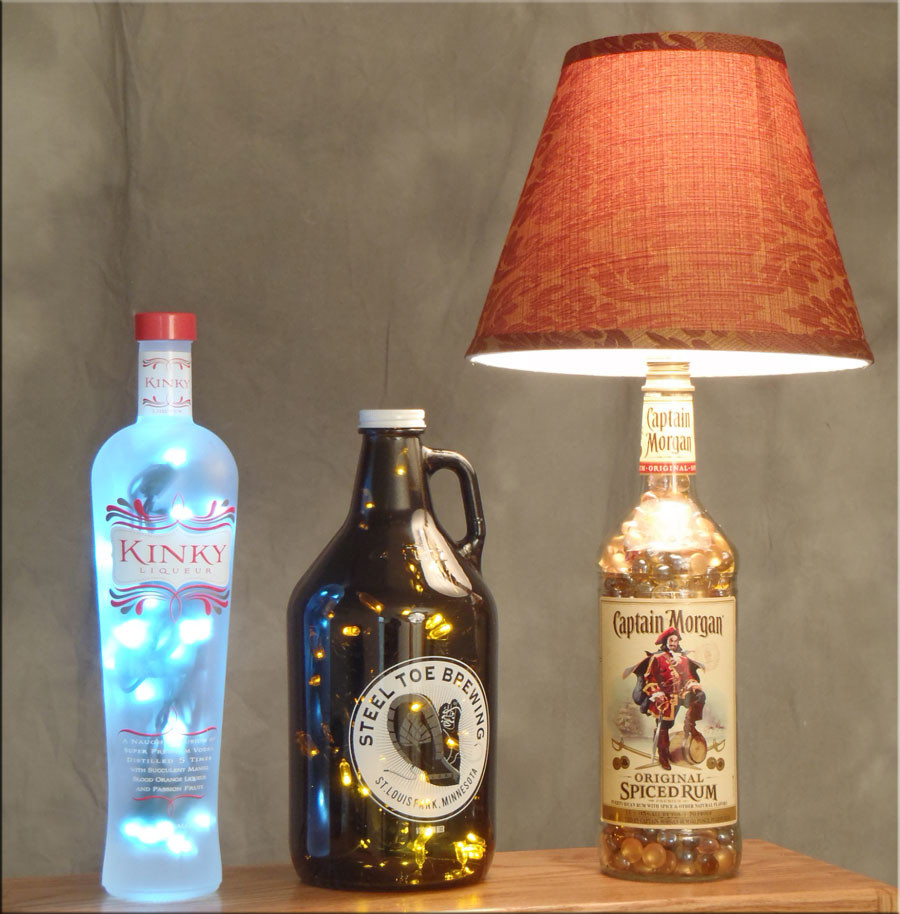 glass vase lamp kit of how to make a bottle lamp throughout kinky beer and captain morgan bottle lamps