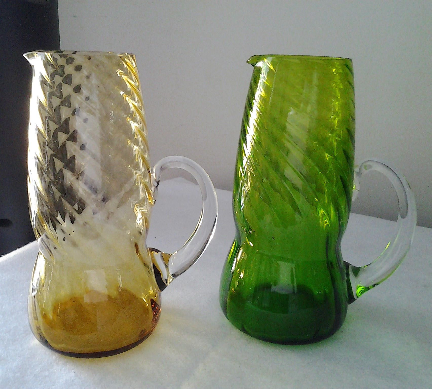 glass vase with handle of retro amber green glass ewer vases twisted glass with clear pertaining to retro amber green glass ewer vases twisted glass with clear handle christmas colours