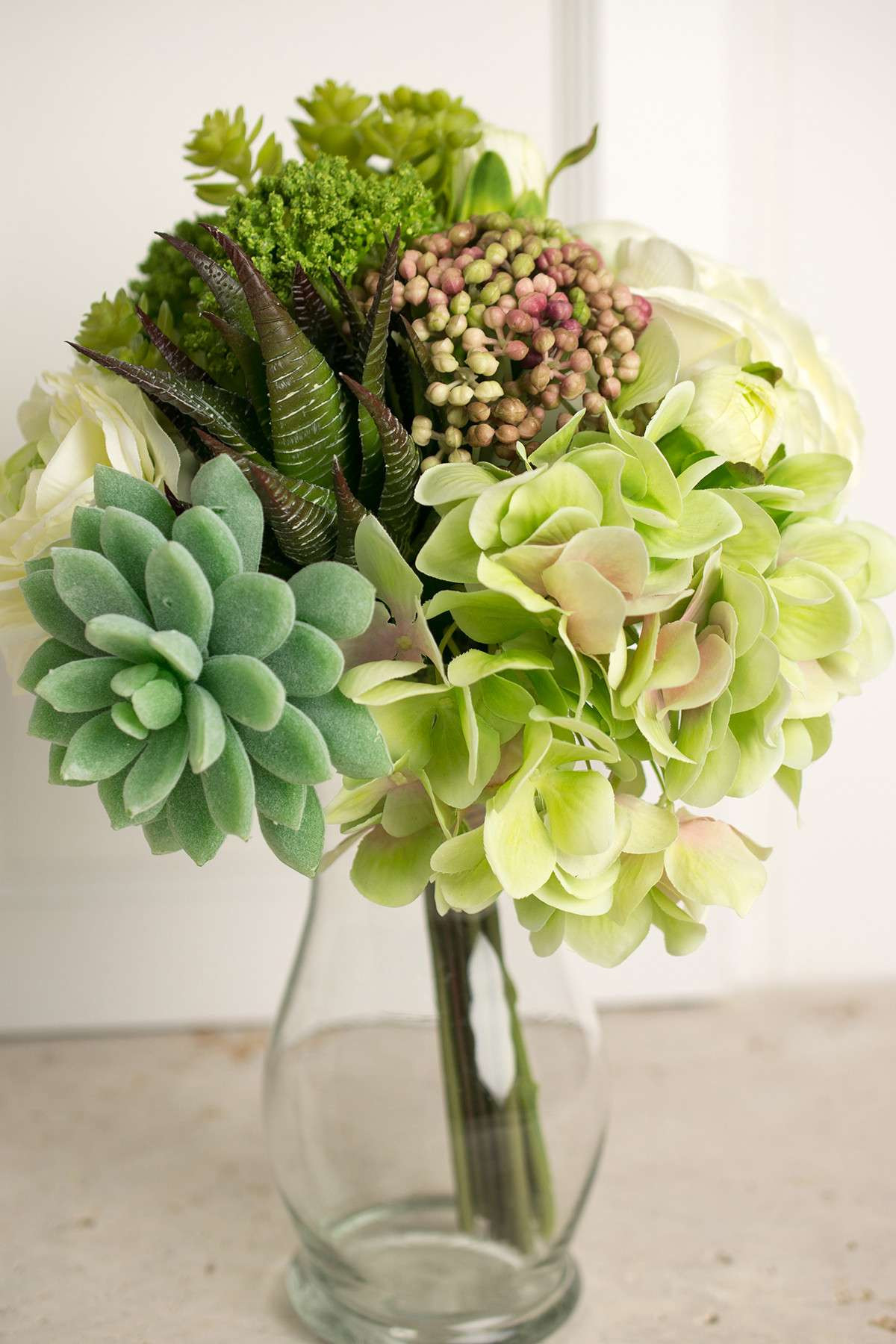 glass vase with hydrangea of faux hydrangea rose succulent bouquet in green and white 12 tall with regard to faux hydrangea rose succulent bouquet in green and white 12 tall design ideas