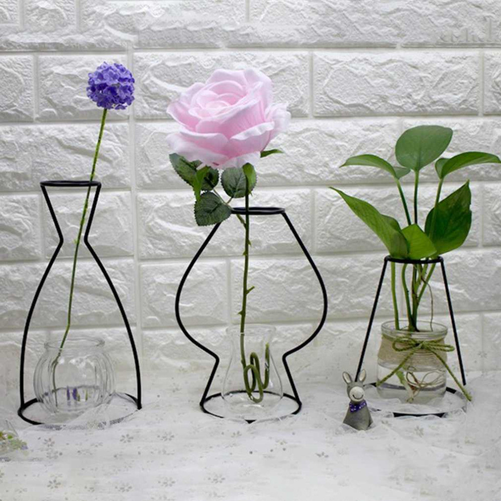 Glass Vase with Iron Stand Of 4 Shapes Black Iron Shelving Glass Vase Flower ornaments Plant Intended for 4 Shapes Black Iron Shelving Glass Vase Flower ornaments Plant Flower Iron Vase Simple Diverse Vases Elegant Drop Shipping In Vases From Home Garden On