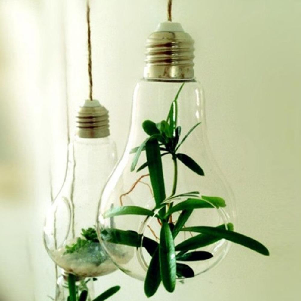 glass vase with rope of new glass bulb lamp shape flower water plant hanging vase hydroponic with new glass bulb lamp shape flower water plant hanging vase hydroponic container pot home office wedding decor cylinder vases cylinder vases wholesale from
