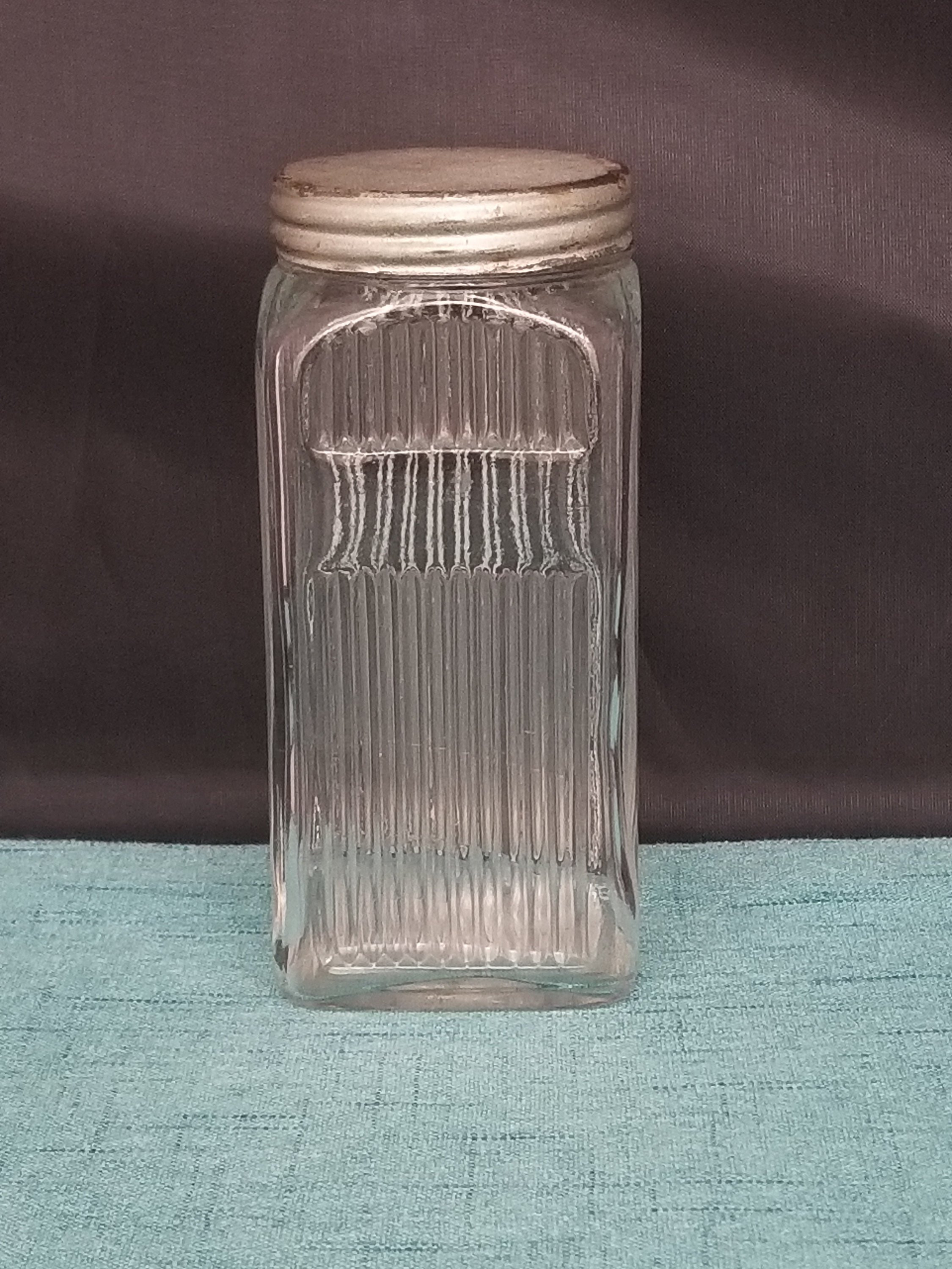 "glass vase with silver base of 1920s hoosier cabinet napenee spice jar with aluminum lid etsy in dŸ""Žzoom"