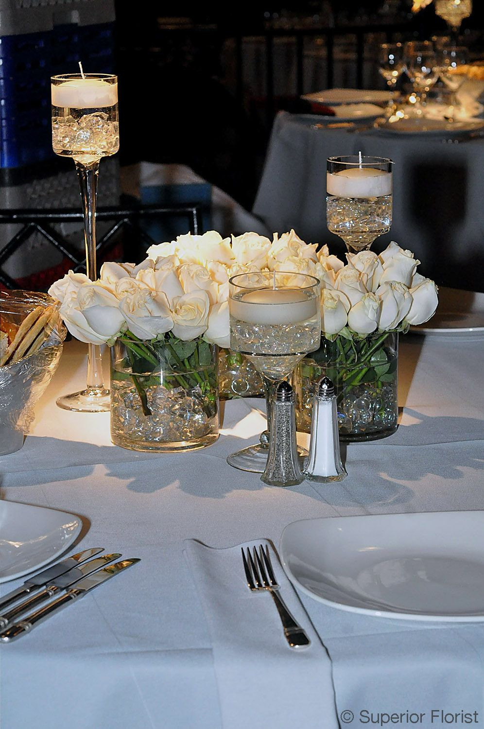 Glass Vase with Stem Of Superior Florist Centerpieces Group Of Three Glass Cylinder Throughout Superior Florist Centerpieces Group Of Three Glass Cylinder Vases Of White Roses Vases Matched with Three Candleholders Each with A Floating Candle