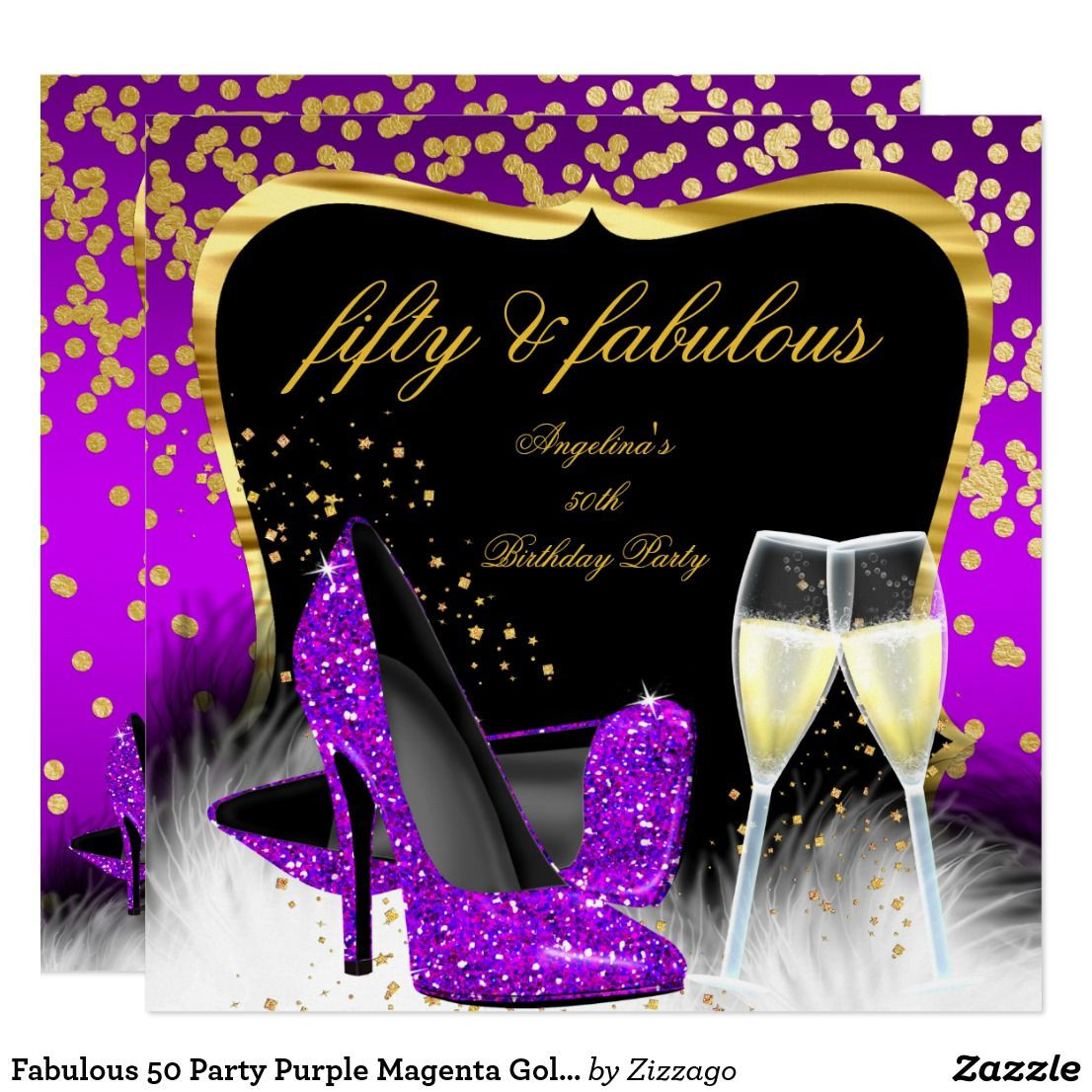 glitter high heel bud vase of fabulous 50 party purple magenta gold champagne invitation in 2018 with fabulous 50 party purple magenta gold champagne card fabulous 50 champagne glitter high heels shoes purple pink magenta gold silver white 50th birthday