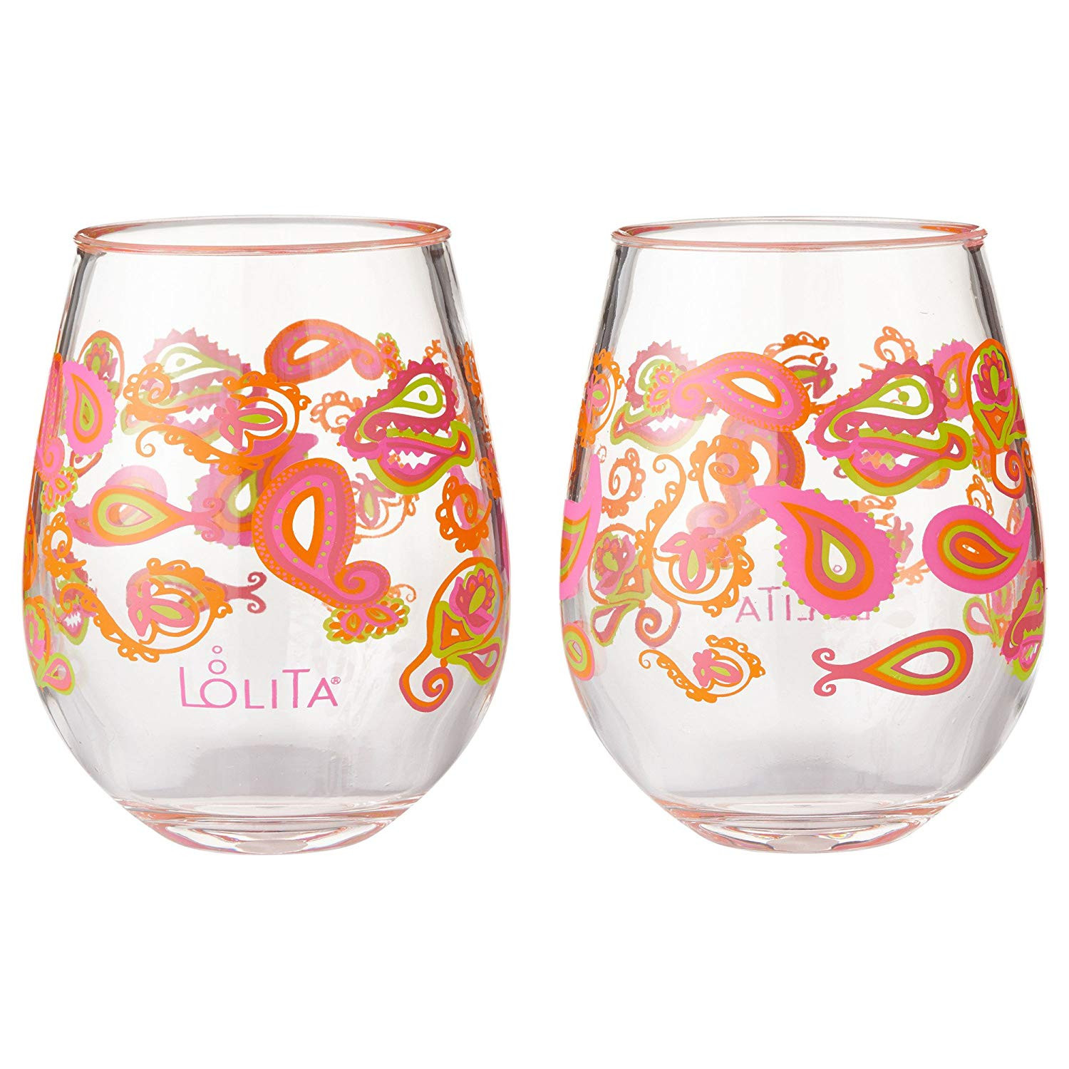 global views glass vase of amazon com enesco designs by lolita paisley acrylic stemless wine for amazon com enesco designs by lolita paisley acrylic stemless wine glasses set of 2 17 oz wine