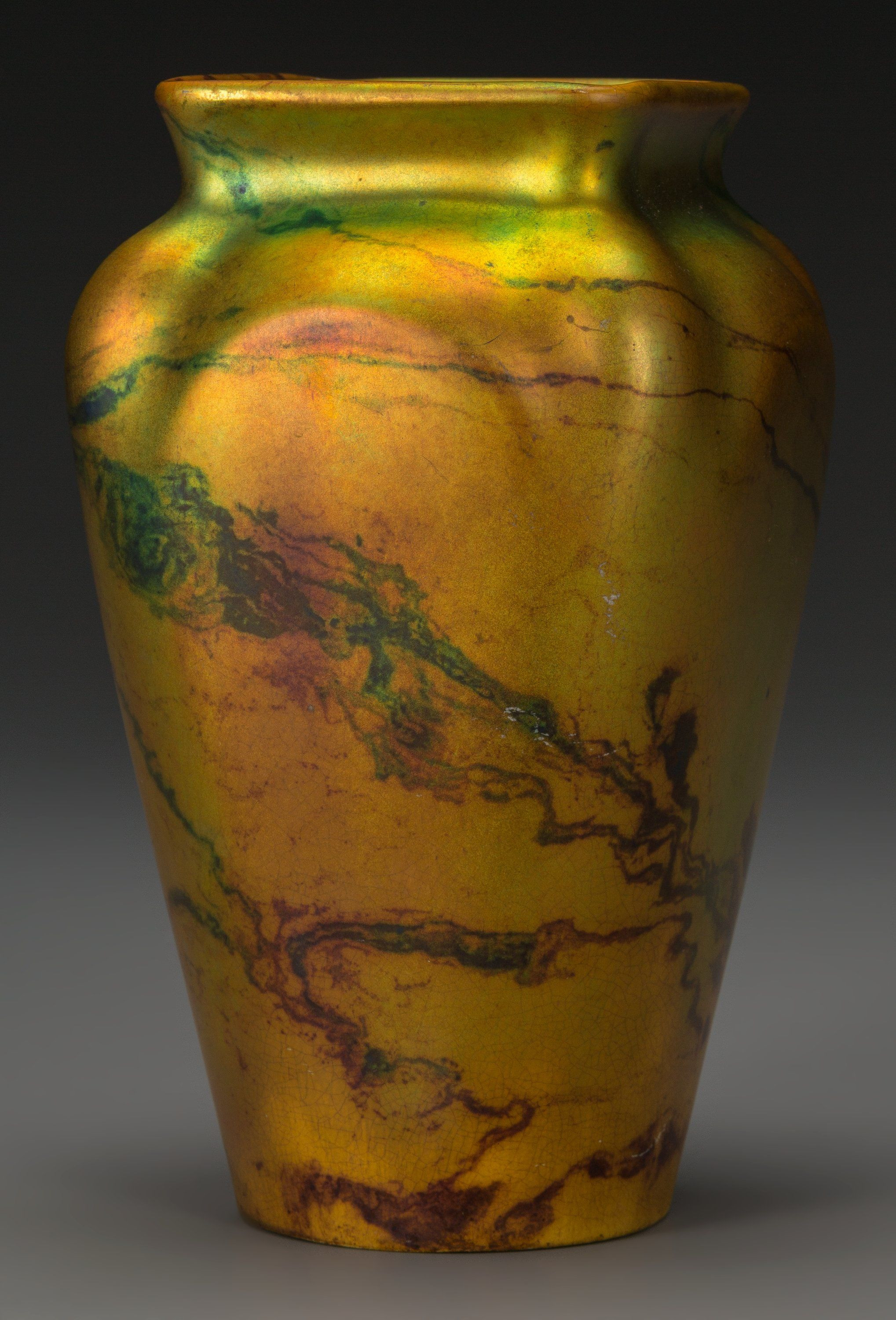 gold ceramic vase of a zsolnay lustre ceramic marbled vasepacs hungary circa 1900 within a zsolnay lustre ceramic marbled vasepacs hungary circa 1900 marks applied five tower mark zsolnay pecs 6014 m 20 7 inches high 17 8 cm