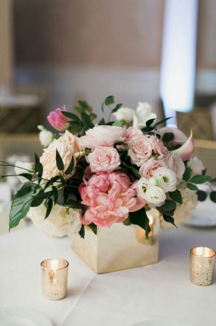 gold compote vase bulk of 25 best chrzciny images on pinterest table centers floral in these pastel pink peonies and roses in a box vase blend well with gold candles for a spring or