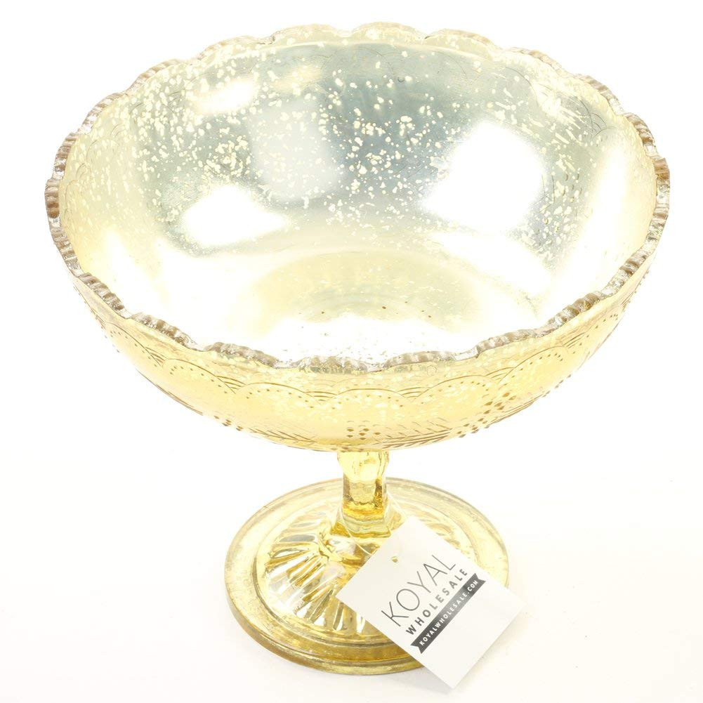 gold compote vase bulk of amazon com koyal wholesale 8 x 6 75 inch antique gold glass compote for amazon com koyal wholesale 8 x 6 75 inch antique gold glass compote bowl pedestal flower bowl centerpiece home kitchen