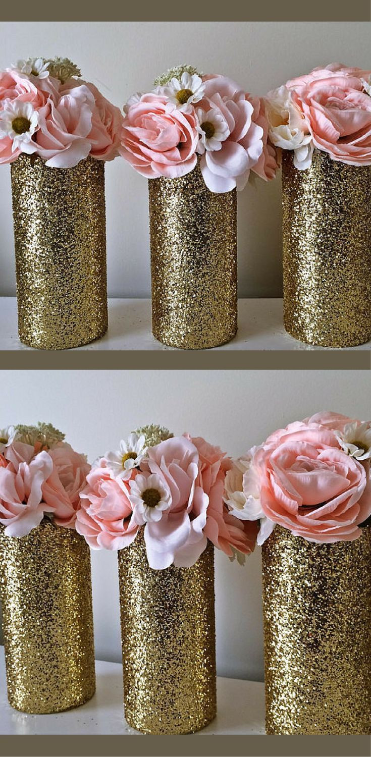Gold Glitter Vase Of 3 Gold Glitter Vases Gold Glitter Decor Wedding Centerpieces for 3 Gold Glitter Vases Gold Glitter Decor Wedding Centerpieces Wedding Decorations Gold