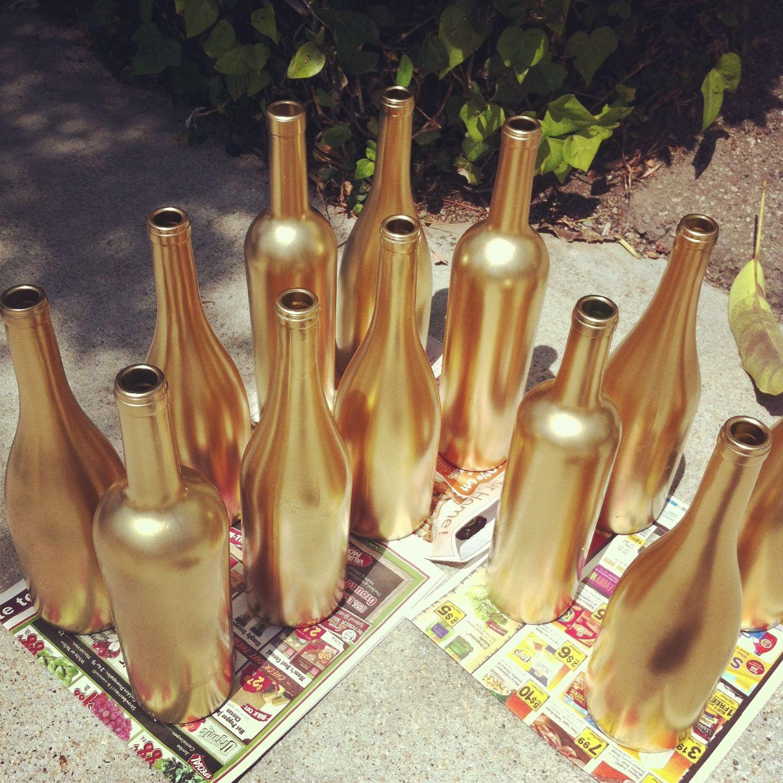 Gold Glitter Vase Of Crafty Bottles Spray Painted Bottles Gold Spray Paint and Gold Spray with Regard to Metallic Gold Spray Painted Bottles
