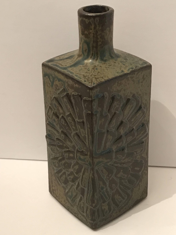 "gold imari vase of vintage stoneware square vase omc japan new old stock etsy throughout dŸ""Žzoom"