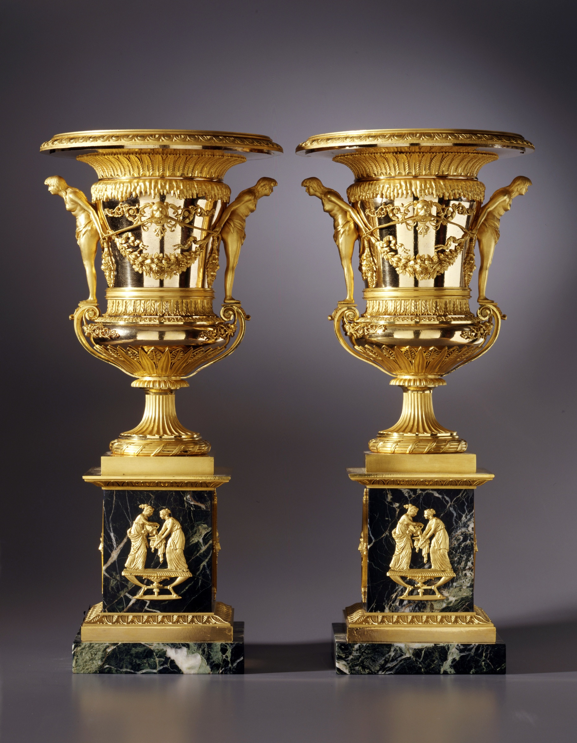 Gold Leaf Vase Of Friedrich Bergenfeldt attributed to A Pair Of Large Sized St with A Pair Of Large Sized St Petersburg Empire Vases attributed to Friedrich Bergenfeldt