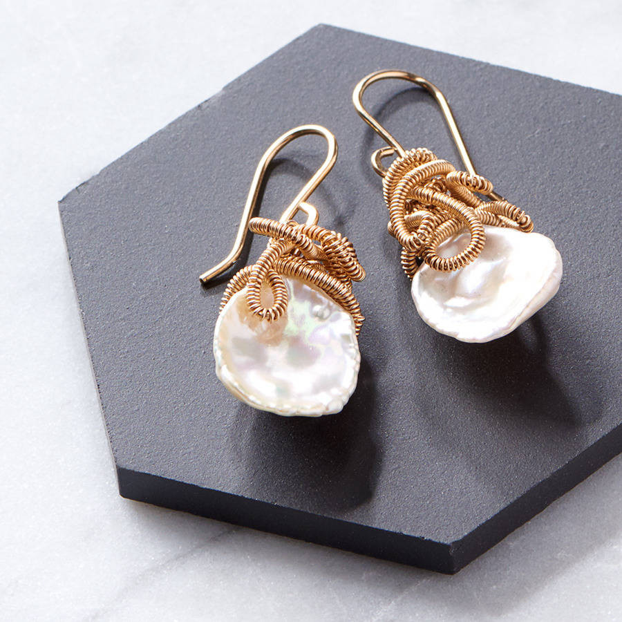 gold pearl vase fillers of pearl jewellery notonthehighstreet com within keshi pearl drop earrings earrings